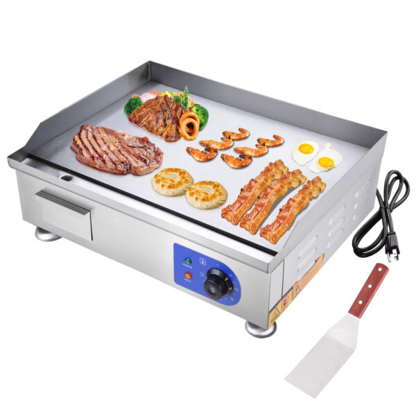 2500W 24quot; Commercial Electric Countertop Griddle Flat Top Grill Hot Plate BBQ