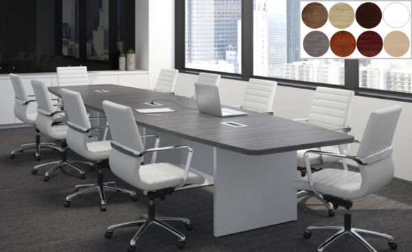 20 ft Foot MODERN Conference Table with Grommets for Power GRAY WHITE 8 Colors