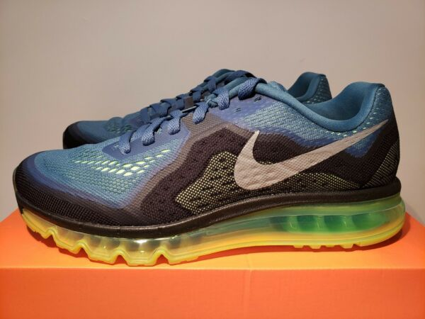 NIB Men's Nike Air Max 2014 Rift Blue/Reflective Silver/Flash Lime/Black US 10