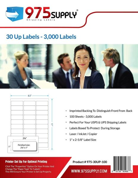 975 Supply Premium 30 Up Shipping Labels for Amazon FBA 1 x 2 58 inches