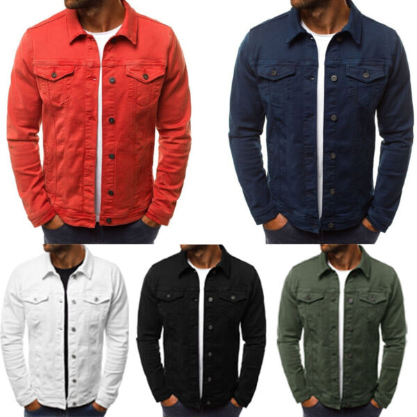 Men's Coat Denim Jacket Jean Cargo Cowboy Lapel Single Breasted Casual Outerwear