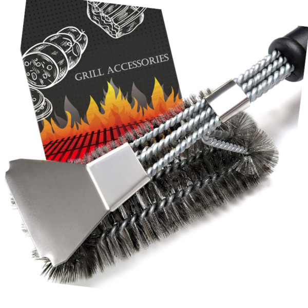 BBQ-Grill-Brush-With-Scraper Heavy Duty 18 Inches Stainless Steel Woven Wire