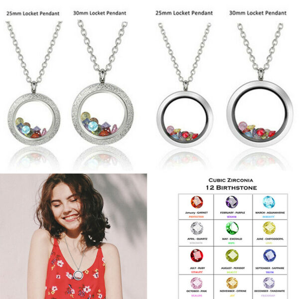 Set Birth Stone 316L Steel Living Memory Floating Charm Locket Pendant Necklace