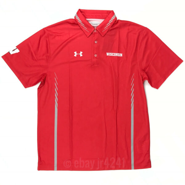 New Under Armour Red Armourfuse Polo Men's L Wisconsin Bucky Badgers 1293921