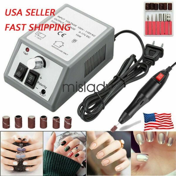 Electric Nail File Drill Manicure Tool Professional Pedicure Machine Set kit US