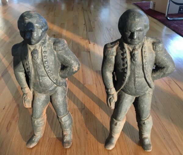 Antique Cast Iron GEORGE WASHINGTON ANDIRONS w REMOVABLE FIRE DOG For Fireplace