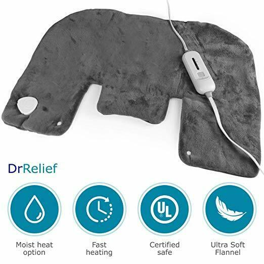"""DR Relief Electric Neck and Shoulder Warmer Heating Pad (18""""x25"""") Gray"""