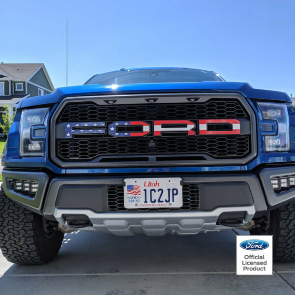 2018 FORD RAPTOR AMERICAN FLAG FULL COLOR GRILLE LETTERS VINYL STICKERS DECALS