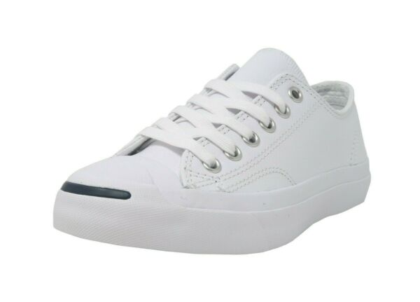 CONVERSE Jack Purcell White Leather Lace Up Athletic Sneakers Women Shoes