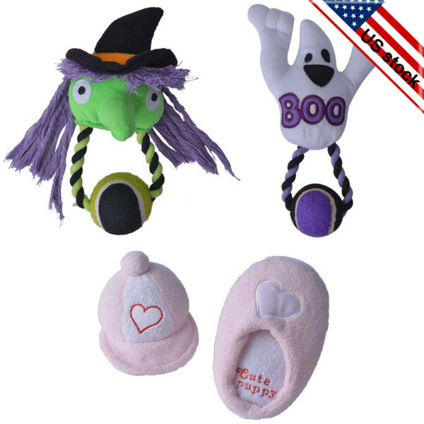 4 Pack Dog Squeaky Toys Puppy Plush Chew Toy Set with Tennis Ball for Dogs