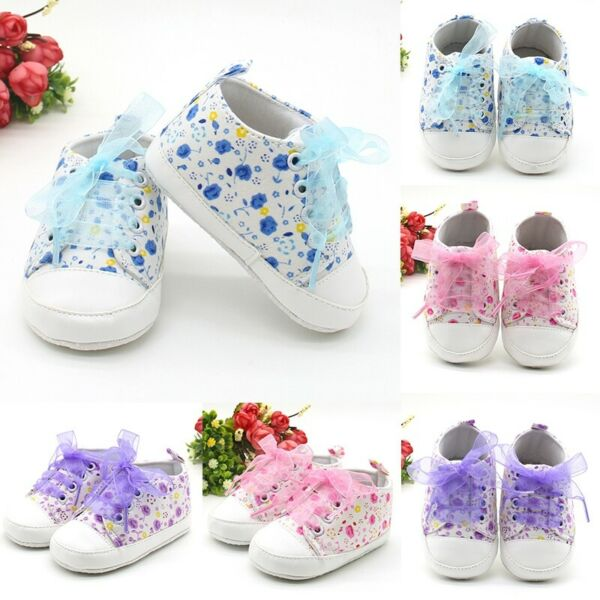 Newborn Infant Baby Girl Soft Sole Crib Shoes Non-slip Cute Floral Sneaker Shoes