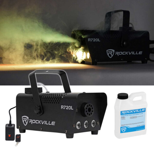 Rockville R720L Fog Smoke Machine w RemoteFluidMulti Color LED Built In