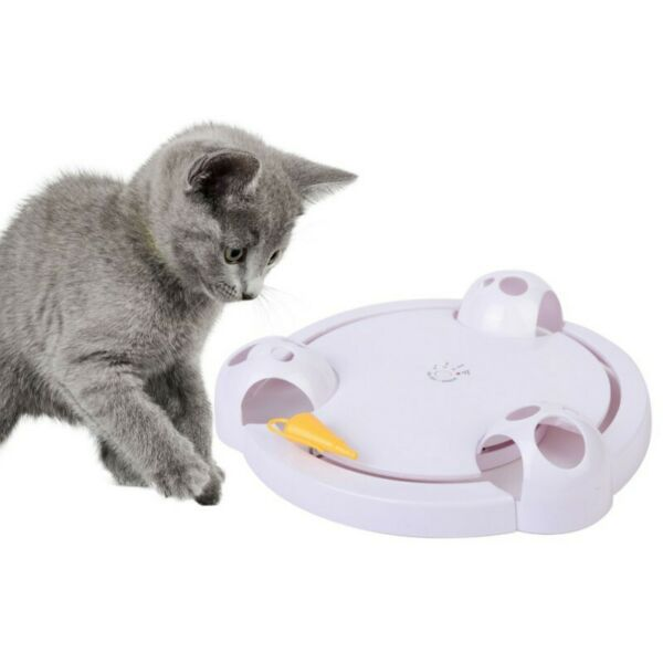 Cat Interactive Mouse Pounce Toy Kitten Automatic Rotating Play Mice Catch Toy