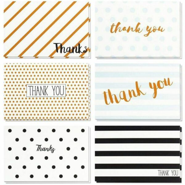 48 Pcs Thank You Cards Bulk Set Retro Designs Thank You Notes with Envelopes