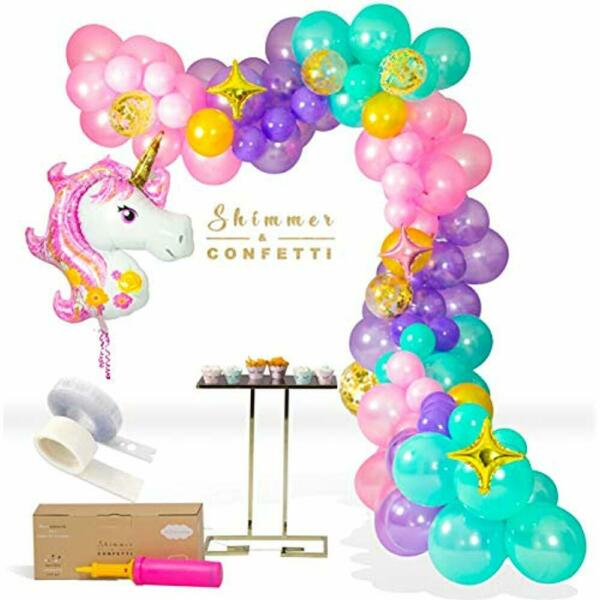Shimmer Confetti Premium 16 Foot Unicorn Balloon Arch Garland Kit Giant Balloon