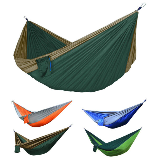 Portable Double 2 Person Nylon Parachute Outdoor Camping Hammock Hanging Swing $15.96