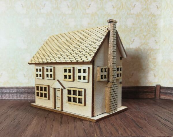 Dollhouse Miniature 1:144 Scale Kit House 2 Story with Fireplace 5 Rooms