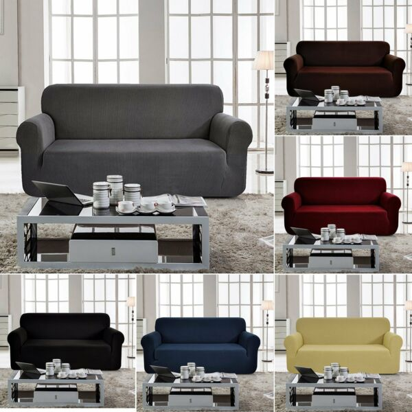 Stretch Sofa Covers Couch Cover Elastic 1 2 3 4 Seater Slipcover Protector US