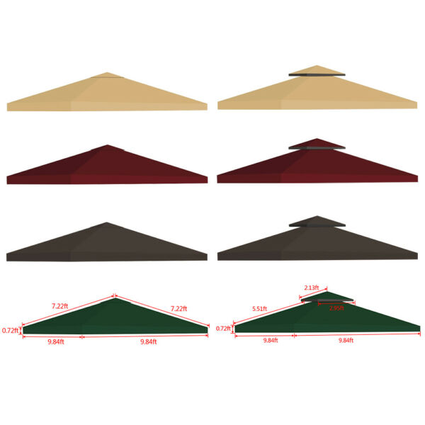 10x10#x27; Outdoor Gazebo Top Tent Cover Pop Up Sunshade Canopy Replacement 1 2 Tier