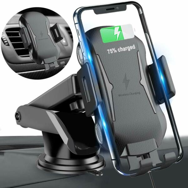 Automatic Clamping Qi Wireless Car Charging Mount Air Vent Phone Holder 360°