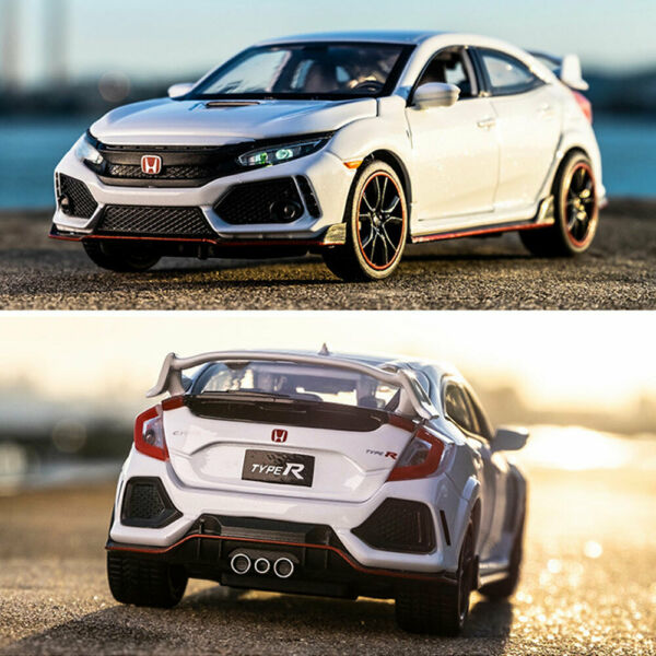 1:32 Honda Civic Type R Model Car Diecast Toy Vehicle Kids Gift Collection White