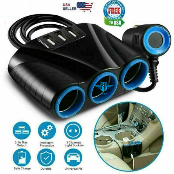 Cigarette Lighter Socket 3 USB Charger Splitter 12V Outlet Power Adapter Car NEW $7.59
