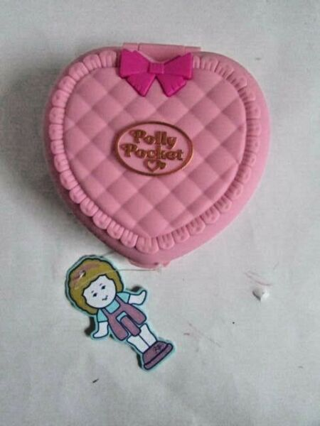Mattel Polly Pocket Small Pink Quilt Style Heart Shaped Lip Palette  NWT!