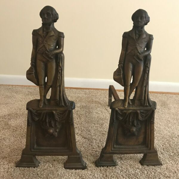 Pair of Antique George Washington Bronze and Cast Iron Andirons