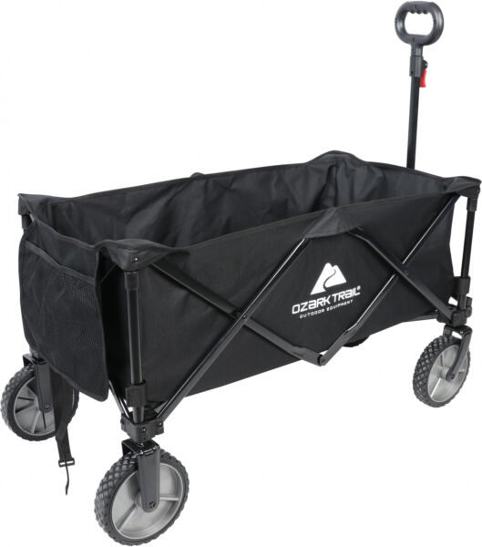 Black Folding Wagon Collapsible Utility Cart Telescoping Handle Portable Fold