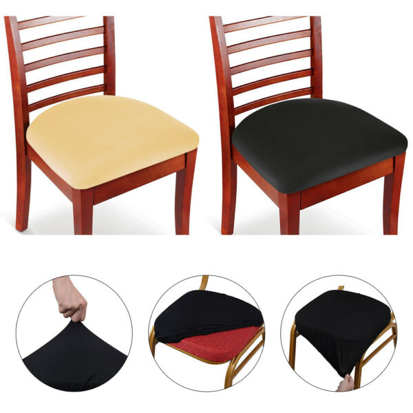2 4 6 Pcs Spandex Stretch Chair Seat Covers Removable Stretchable Cushion Cover $12.98
