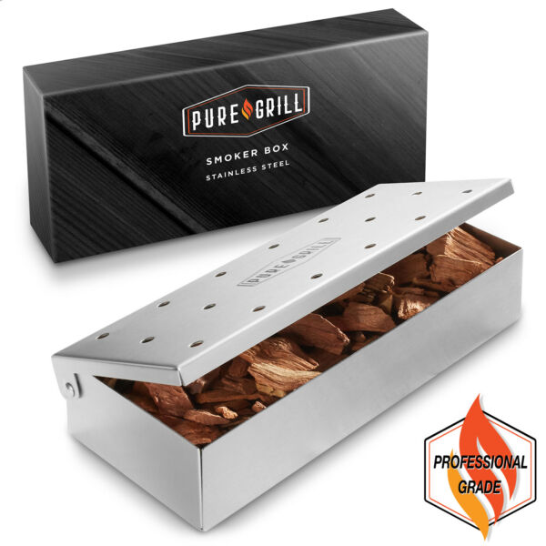 Stainless Steel BBQ Grill Smoker Box for Wood Chips Hinged Lid Smoking Meat