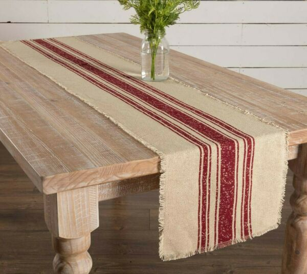 Farmhouse FEED SACK Burlap Table Runner Dark RED STRIPES Primitive 72quot; Stripe