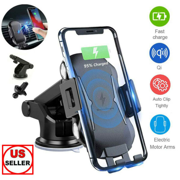 Qi Wireless Charging Car Charger Automatic Clamping Air Vent Mount Phone Holder