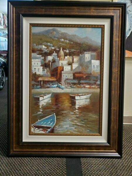 Beached Boats Hand Painted Original Oil Painting Mountain Hill Town Seaside