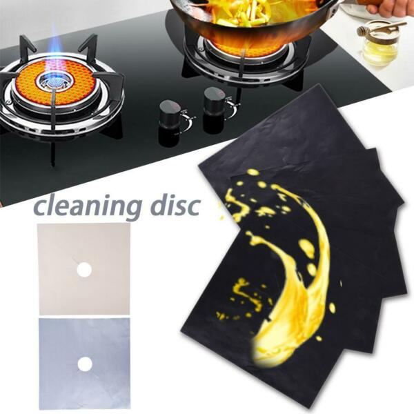 4PCS Reusable Gas Range Stovetop Burner Protector Liner Cover Kitchen Supplies