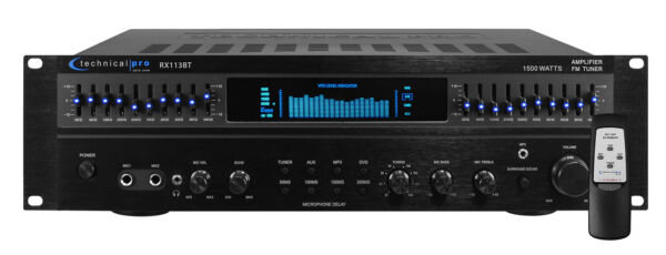 Technical Pro RX113BT 1500w Bluetooth Home Receiver Amplifier Amp w 10 Band EQ