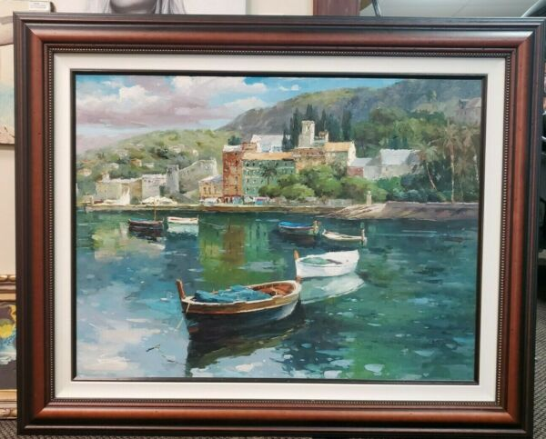Tranquil Boats Hand Painted Original Oil Painting Ocean Bayside sea town fishing