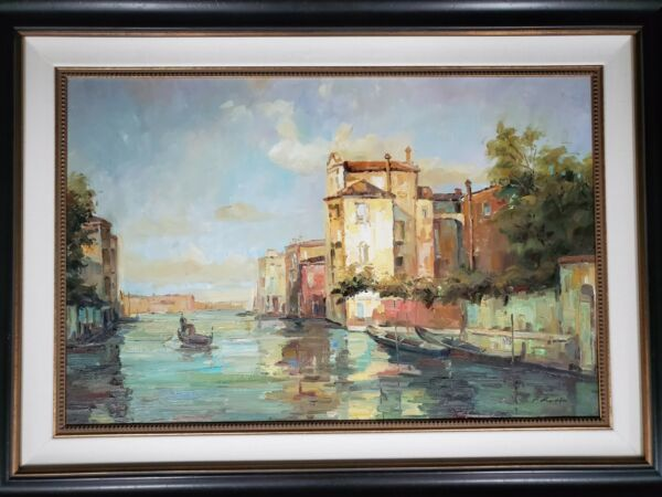 Gondala Memory Hand Painted Original Oil Painting by P Roiffio Stream Town river
