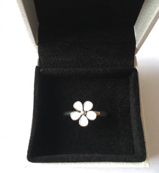 White Dazzling Daisy stacking ring size 56 in gift box (Genuine Sterling Silver)