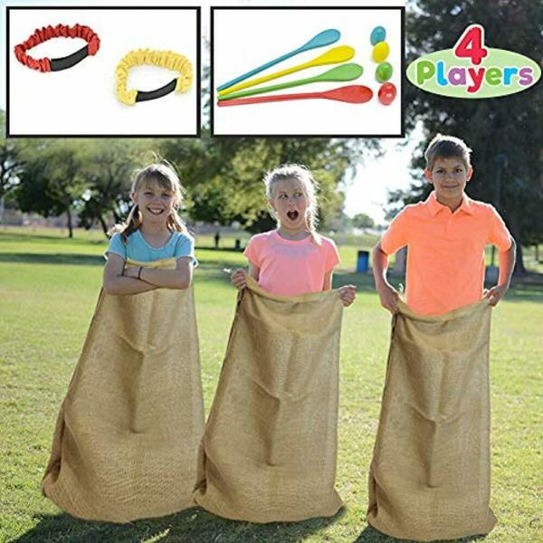 4 Party Games & Crafts Players Outdoor Lawn Potato Sack Race Bags Egg Spoon Tie