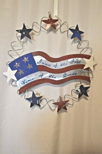 Patriotic Wreath Wire Metal Stars Red White Blue Door Wall Outside