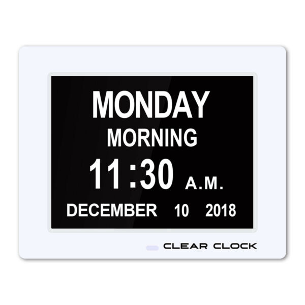 Clear Clock Extra Large Digital Memory Loss Calendar Dementia Clock Alarm White