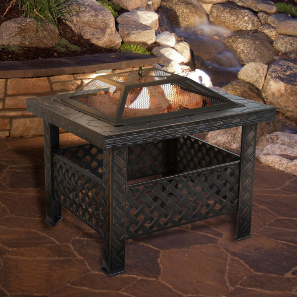 Patio Fire Pit Set Outdoor Square Firepit Wood Burning Fire Bowl Cover Poker 26