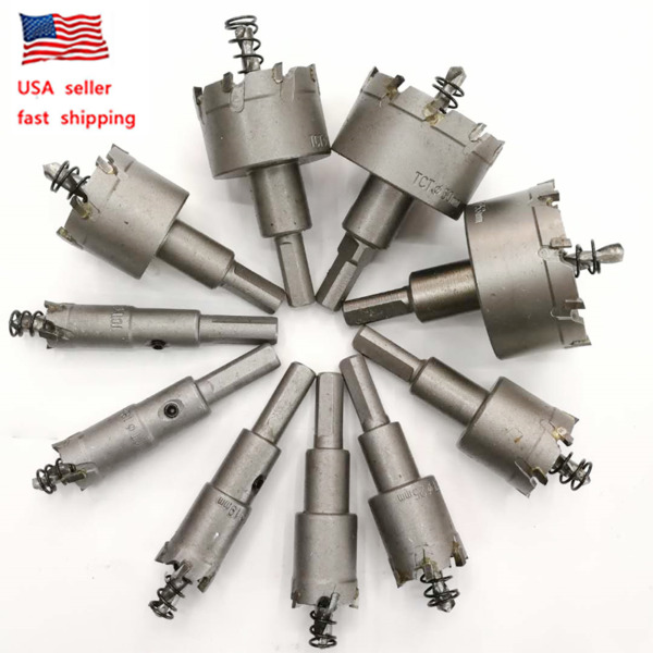 10X Carbide Tip TCT Hole Saw Cutter Drill Bit Set For Steel Metal Alloy 16-53mm