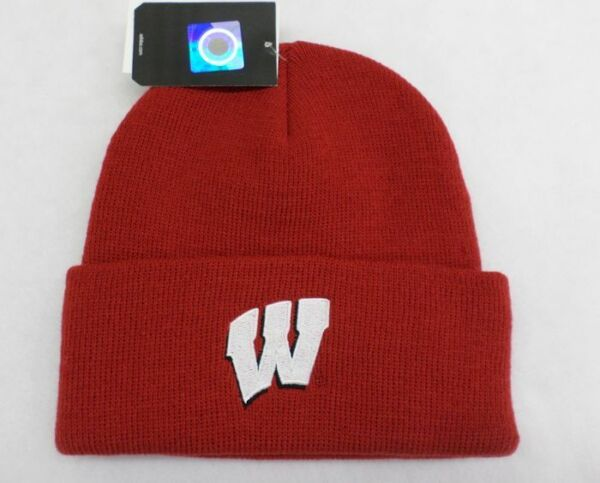 NCAA Wisconsin Badgers Mens Red Knit Cuffed Hat OSFA