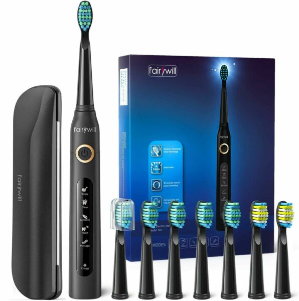 Fairywill Sonic Electric Toothbrush Waterproof 12x Soft Heads Rechargeable USB