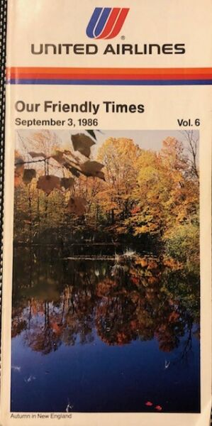 United Airlines Timetable September 1986