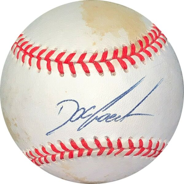 DocDwight Gooden signed Rawlings OFC 1996 World Series Logo Baseball toned- JSA