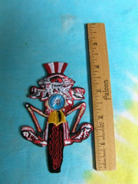 Grateful Dead Psycle Sam on Motorcycle 2.75 x 4.25 Inch Iron On Patch