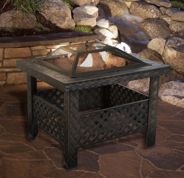 """Outdoor wood burning fire pit Steel Table 26"""" w Spark Screen Cover Log Poker"""
